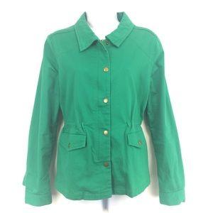 Stitch Fix utility jacket green cinched waist M